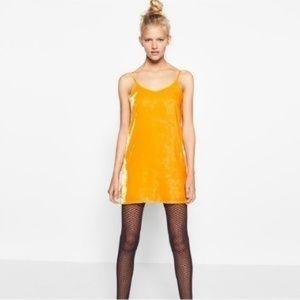 Zara marigold yellow velvet slip mini dress